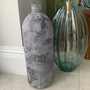 Mottled Grey Recycled Glass Escavo Bottle - 50cm