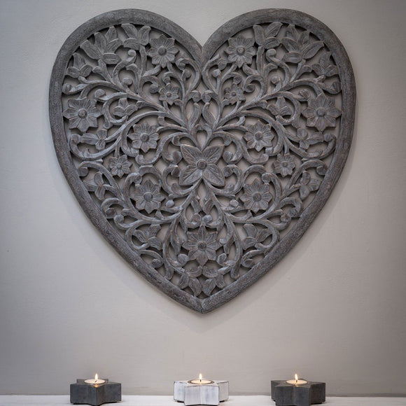 Grey Heart Hand Carved Panel  |  14SS73