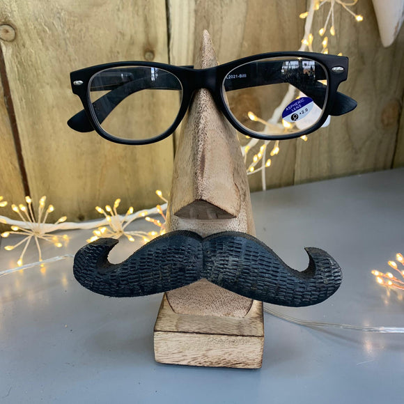 Wooden Glasses Stand with Moustache