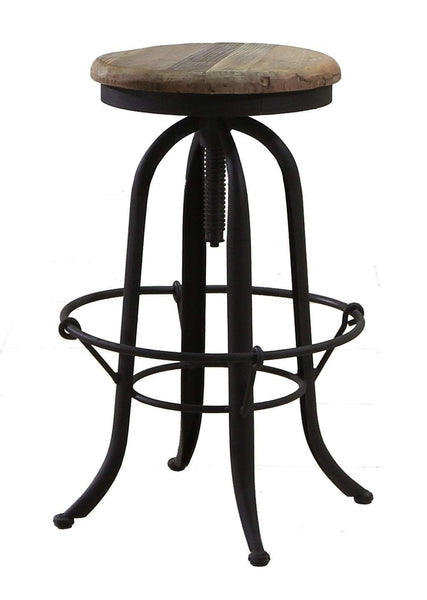Solid Wood Base Industrial Barstool