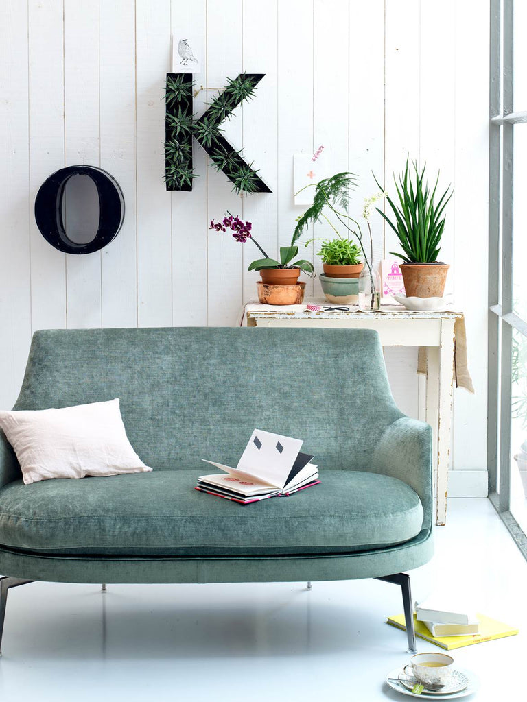 Sofa with small table and fake plants