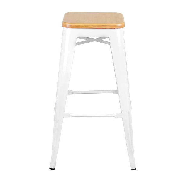 White Metal and Bamboo Stool