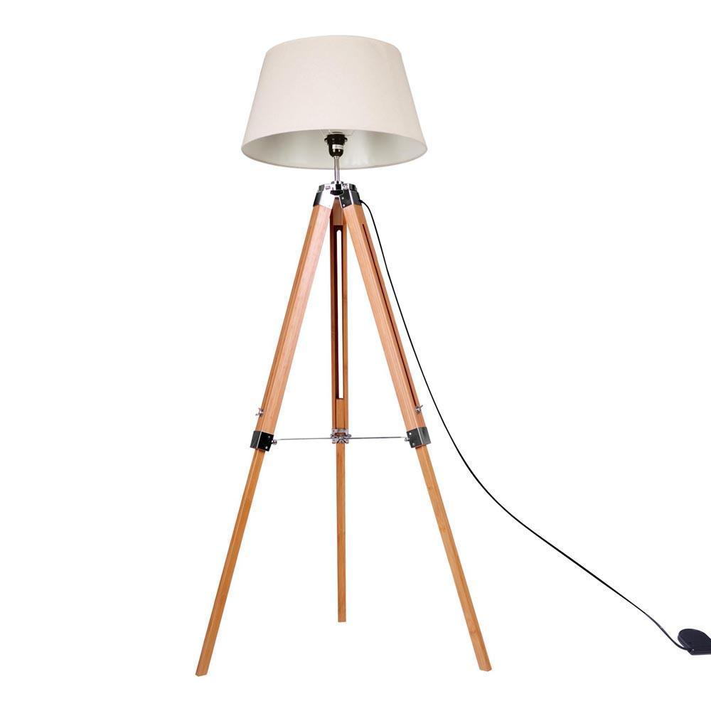 bamboo wooden floor lamp - brown and beige