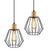 2x Pendant Light Wood and Metal Black