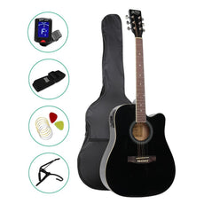 ALPHA 41 Inch 5 Band EQ Electric Acoustic Guitar Set Full Size Black
