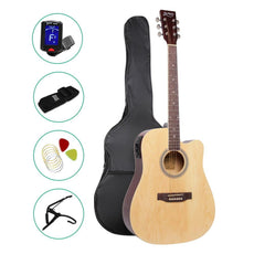 ALPHA 41 Inch 5 Band EQ Electric Acoustic Guitar Set Full Size Natural