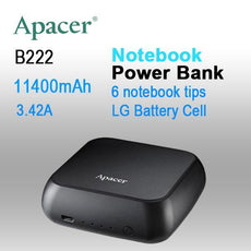 APACER mini NOTEBOOK POWER BANK B222 11400mAh with 6 tips,2x Fast USB Charger for Smart phone, Tablet etc.