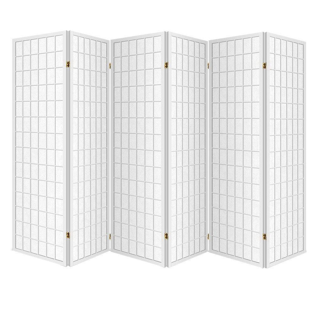 Super 6 Panel Room Divider Privacy Screen Foldable Pine Wood Stand White Home Interior And Landscaping Fragforummapetitesourisinfo