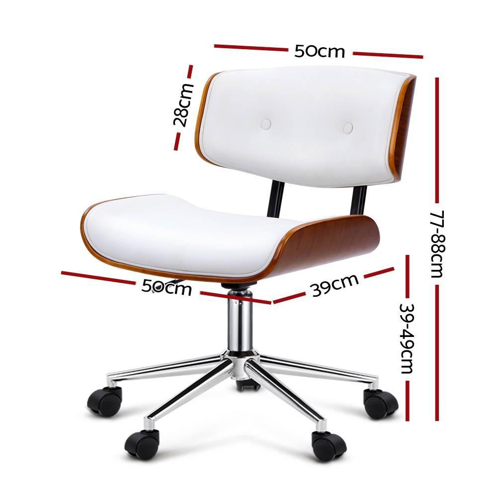 newest 1aaf0 8aa8c Executive Wooden Office Chair Leather Computer Chairs Seat Bentwood White