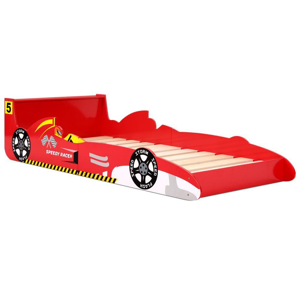 Artiss Single Size Racing Car Bed Frame - Red