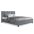 King Single Size Bed Frame Base Mattress Fabric Wooden Grey TINO