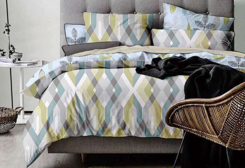 King Size Reversible Zig Zag Quilt Cover Set (3PCS)