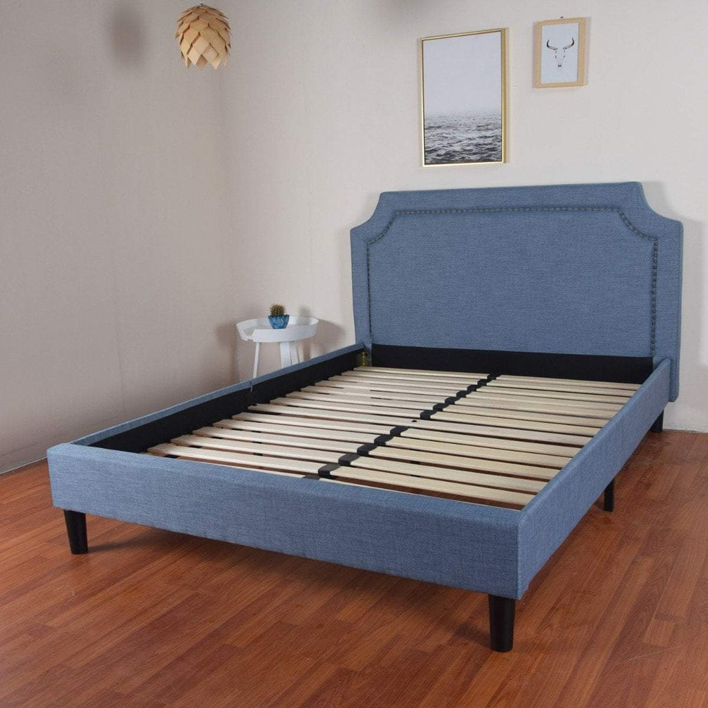 Reynard King Single Bed Blue Linen Fabric  Upholstered