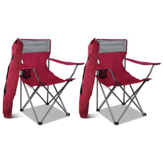 Set of 2 Portable Folding Camping Armchair - Wine Red