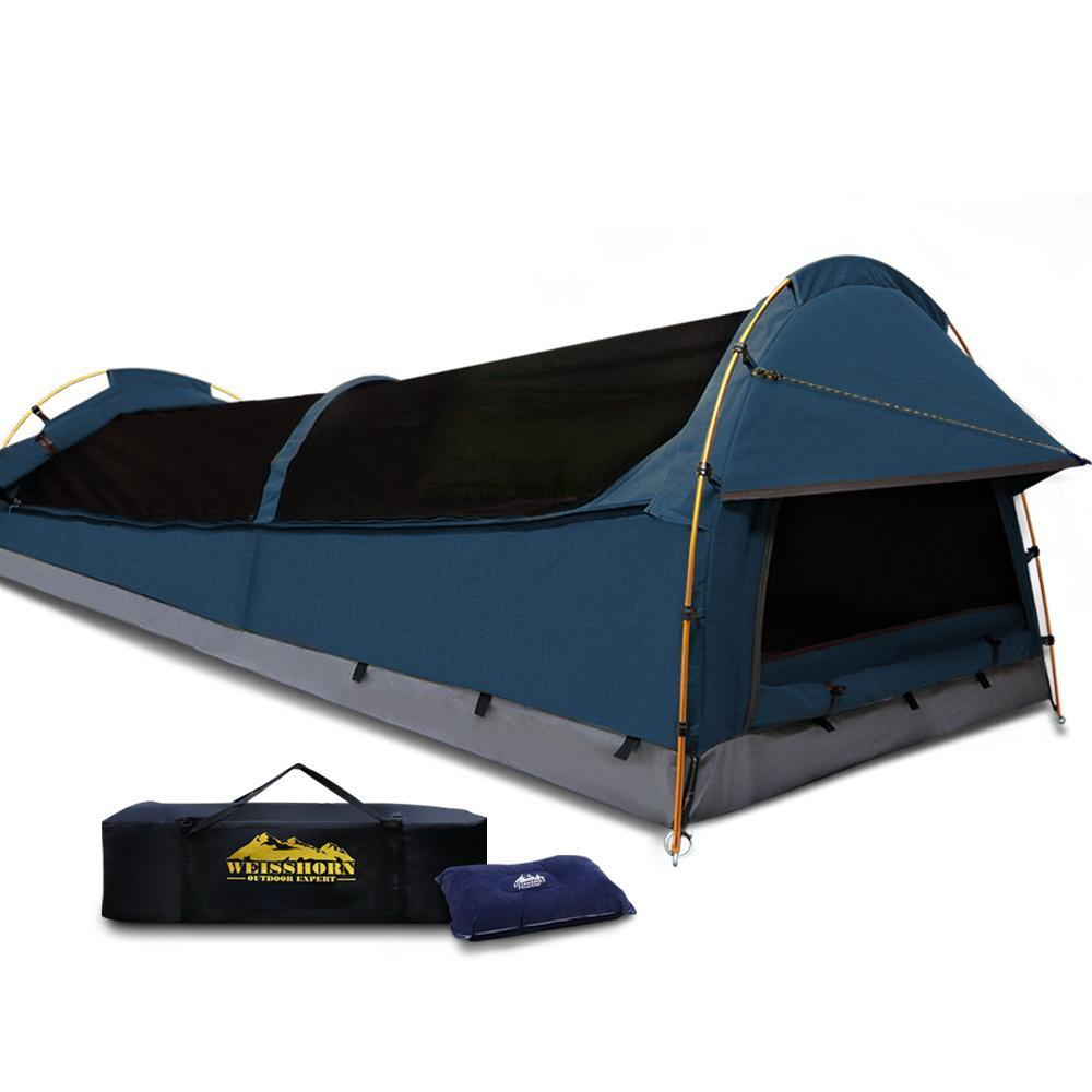 Astounding Weisshorn Xxl King Single Camping Swag Canvas Tent Dark Blue Download Free Architecture Designs Itiscsunscenecom