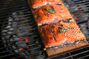 Fish on wood grilling planks