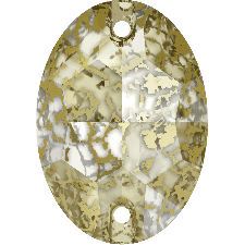 3210 OVAL CRYSTAL GOLD PATINA SEW-ON