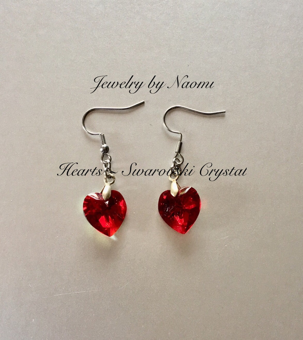 EARRINGS MADE WITH SWAROVSKI® CRYSTAL RED HEART