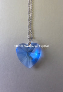 NECKLACE MADE WITH SWAROVSKI® CRYSTAL HEART MM 28 SAPPHIRE