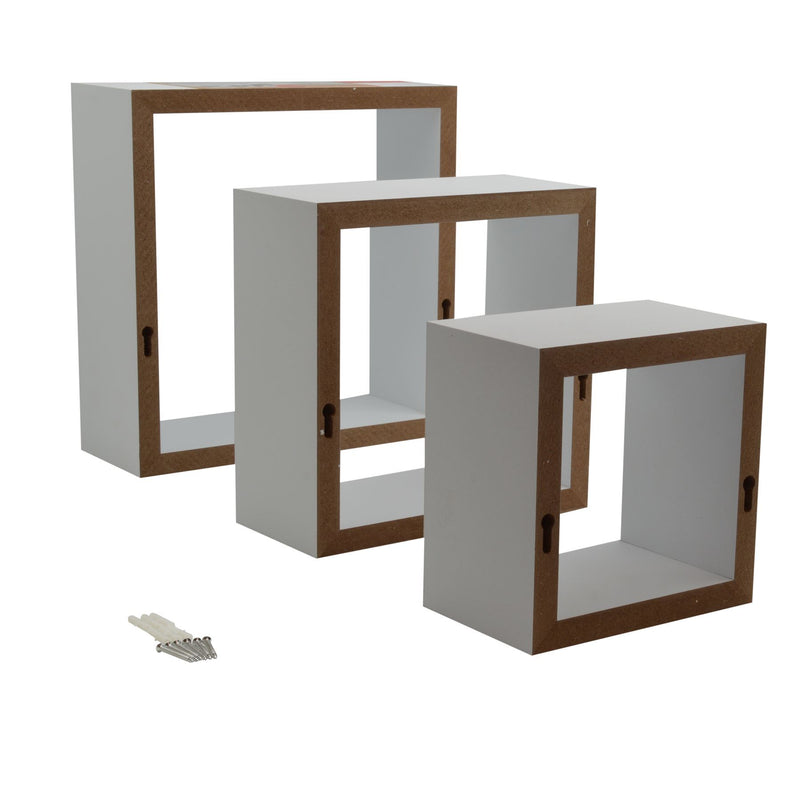 Harbour Housewares 3pc Floating Box Shelves Set - 3 Sizes - White