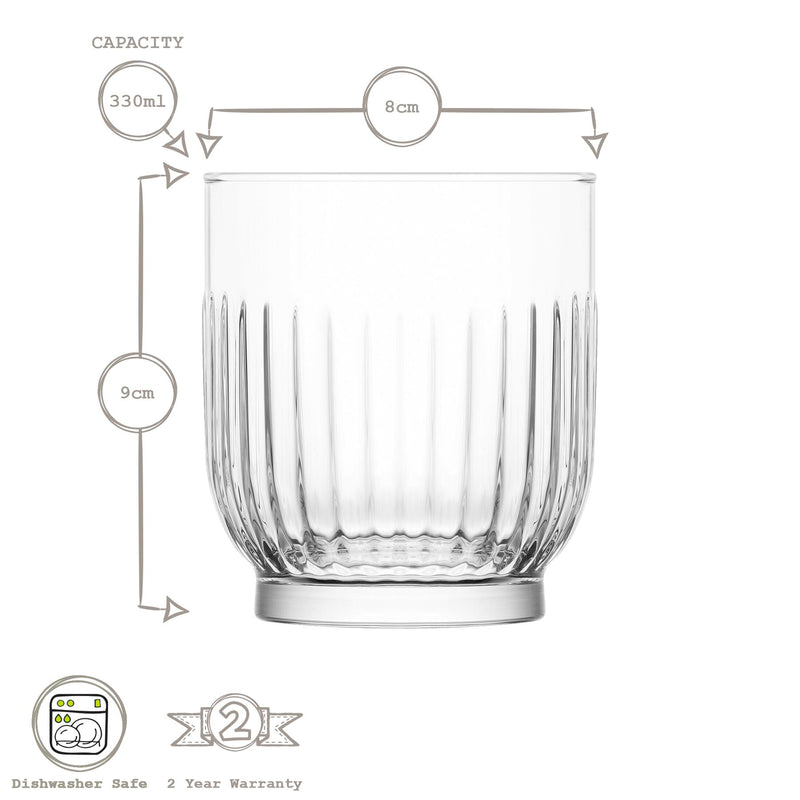 LAV 12 Piece Tokyo Art Deco Drinking Glasses Set - Highball & Whiskey