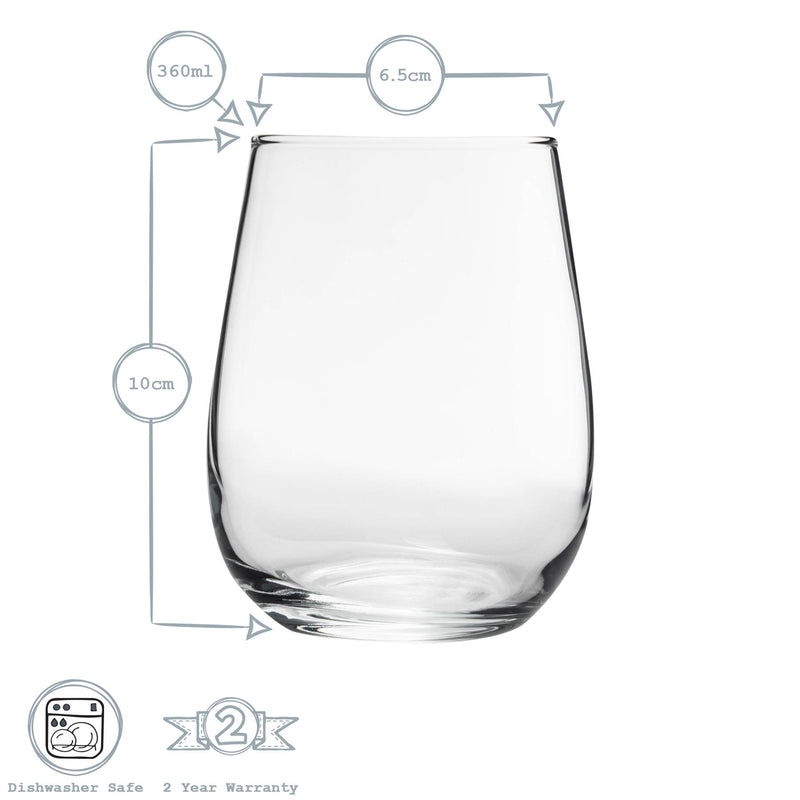 LAV 12 Piece Gaia Stemless Wine Glasses Set - Red & White