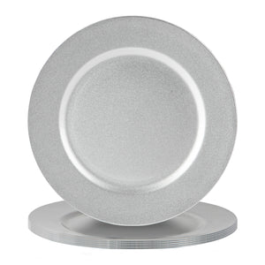 Argon Tableware 6 Piece Metallic Charger Plate Set - 33cm - Silver