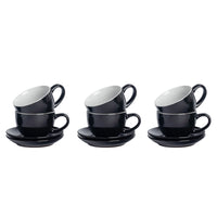 Argon Tableware 6 Coloured Cappuccino Cups and Saucers - Black - 250ml