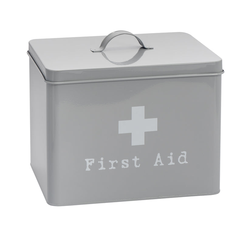 Harbour Housewares Vintage Metal First Aid Medicine Storage Box - Grey