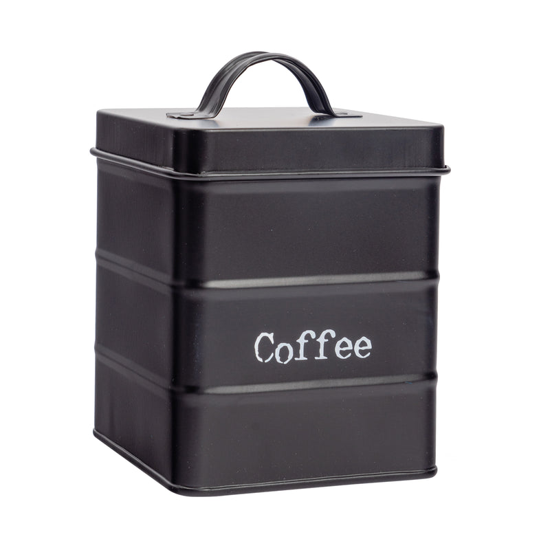 Harbour Housewares Vintage Metal Kitchen Coffee Canister - Black