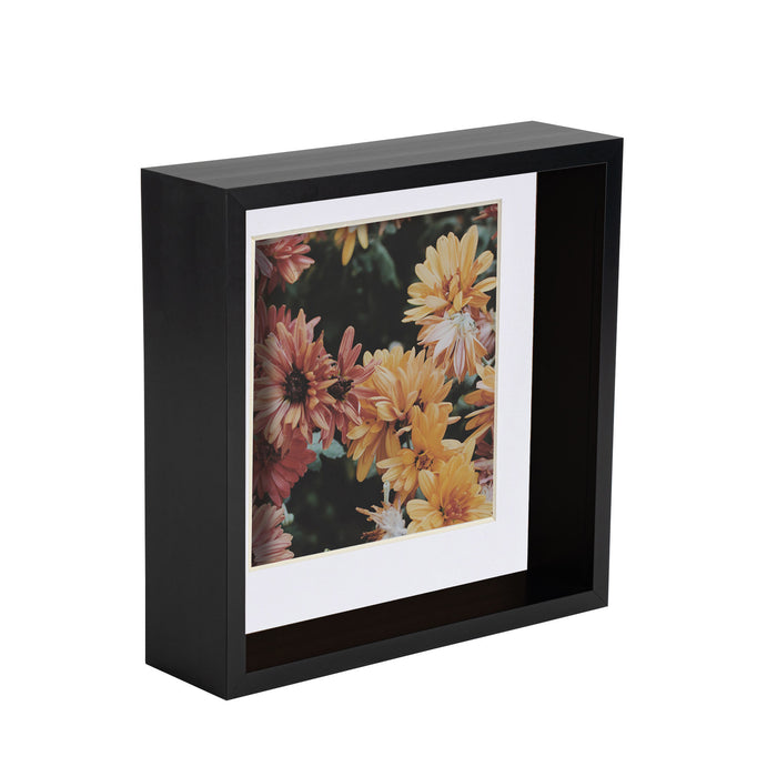 Nicola Spring 3D Shadow Deep Box Photo Frame - 8 x 8 with 6 x 6 Mount - Black