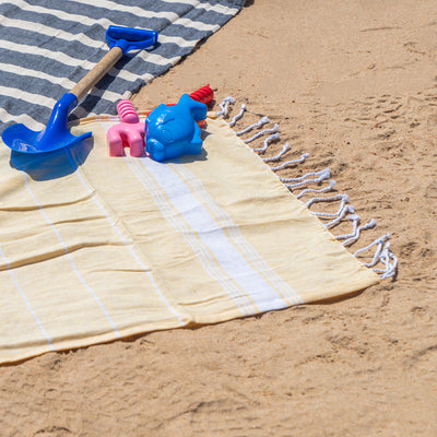 Nicola Spring Children's Turkish Beach Towels - Yellow on Beach