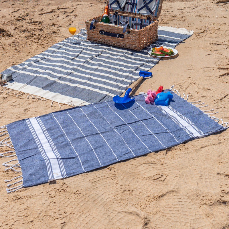 Nicola Spring 100 x 60cm Turkish Cotton Beach Towel - Navy on Beach