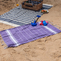 Nicola Spring 100 x 60cm Turkish Cotton Beach Towel - Purple on Beach