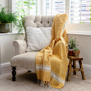 Nicola Spring 170 x 90cm Turkish Cotton Beach Towel - Yellow
