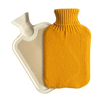 Nicola Spring Hot Water Bottle with Knitted Cover - 2 Litres - Mustard