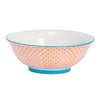 Nicola Spring Patterned Serving Bowls - 21.5cm - Orange & Blue