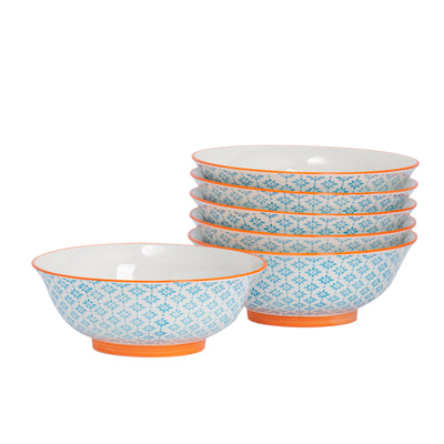 Nicola Spring Patterned Serving Bowls - 21.5cm - Blue & Orange - Pack of 6