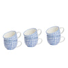 Nicola Spring Patterned Cappuccino & Tea Cups - 250ml - Blue Flower - Pack of 6