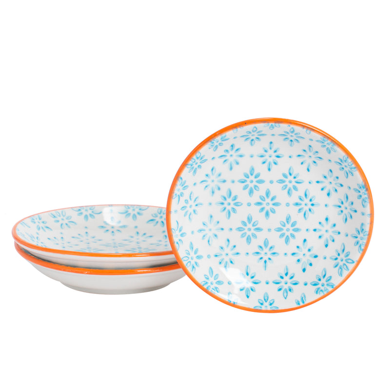 Nicola Spring Soy Sauce Dipping Saucer - Blue & Orange - Pack of 3