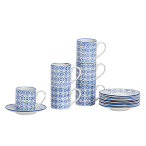 Nicola Spring Patterned Espresso Cup & Saucer Set - Blue Flower - Pack of 6