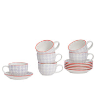 Nicola Spring 12 Piece Hand Printed Cappuccino Cups and Saucers Set - 250ml - Purple
