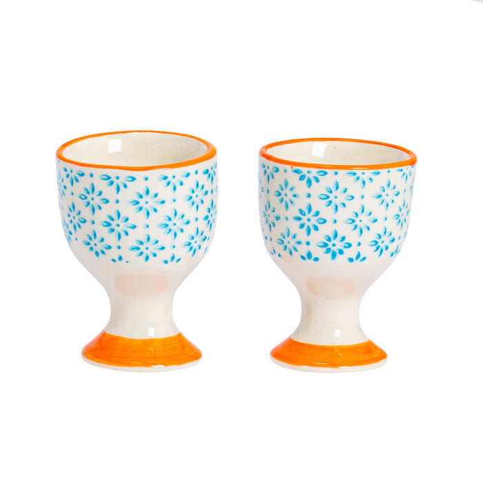 Nicola Spring Porcelain Egg Cups - Blue & Orange - Pack of 2
