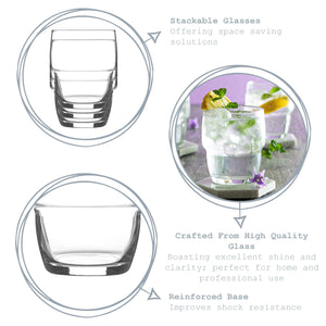 LAV 6 Piece Galata Stacking Whiskey Glasses Set - 285ml