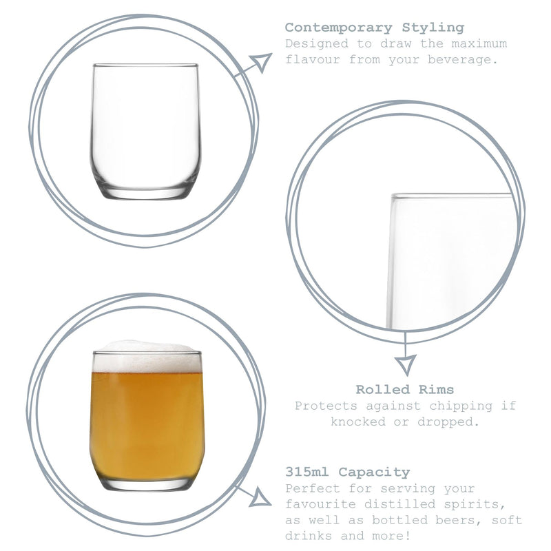 LAV 6 Piece Sude Drinking Glasses Set - 315ml