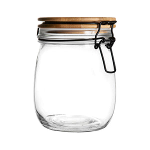 Argon Tableware Airtight Storage Jar with Wooden Lid - White Seal - 750ml
