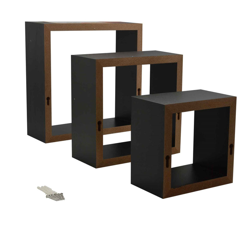 Harbour Housewares 3pc Floating Box Shelves Set - 3 Sizes - Black
