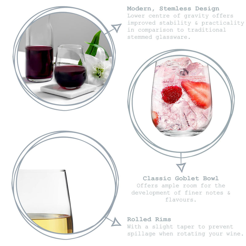LAV 6 Piece Gaia Stemless Gin Glasses Set - 680ml