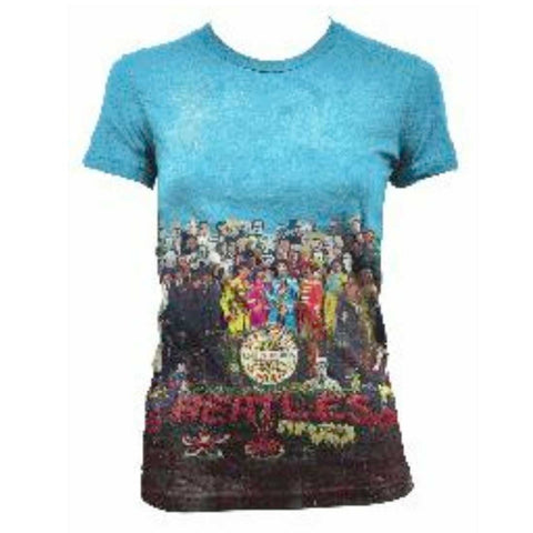 The Beatles Sgt Pepper Album Allover - Womens White Sublimated T-Shirt