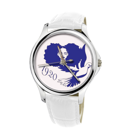 Zeta Phi Beta 1920 - 30 Meters Waterproof Quartz Fashion Watch With White Genuine Leather  - iWILLinspire